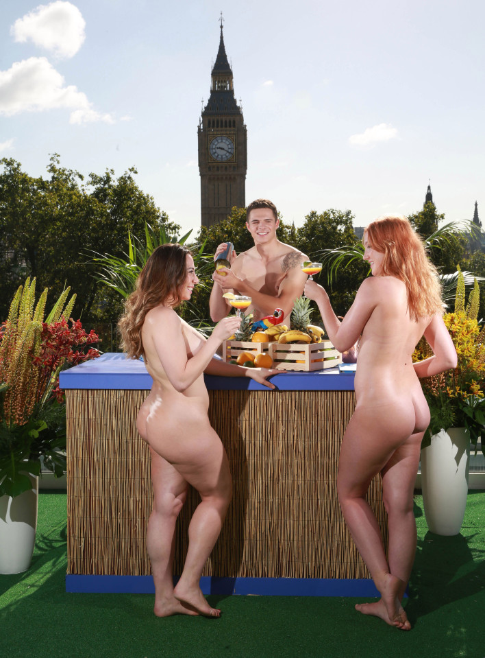 EDITORIAL USE ONLY (Left to Right) Agatha Ezzedine, Danny Golds and Ruth Steele enjoy the sun on a nudist roof terrace in central London which is being trialled by NOW TV to encourage people to go clothes-free and embrace 'total freedom' to mark the launch of their new contract-free Combo package. PRESS ASSOCIATION Photo. Issue date: Wednesday August 10, 2016. The naked sun terrace follows new research from the online streaming service, which revealed that Britain's younger population is freer compared to their parents 30 years ago. The 'no strings' generation avoids being 'tied down' in life, with the under 30s having less serious relationships, living in more countries and changing jobs frequently. Photo credit should read: Matt Alexander/PA Wire